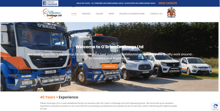 "New Website Launch – ""O'Brien Drainage"""