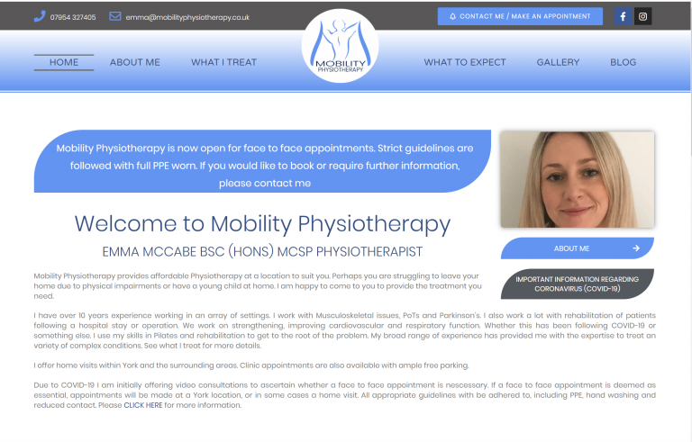 NEW WEBSITE LAUNCH – Mobility Physiotherapy Ltd