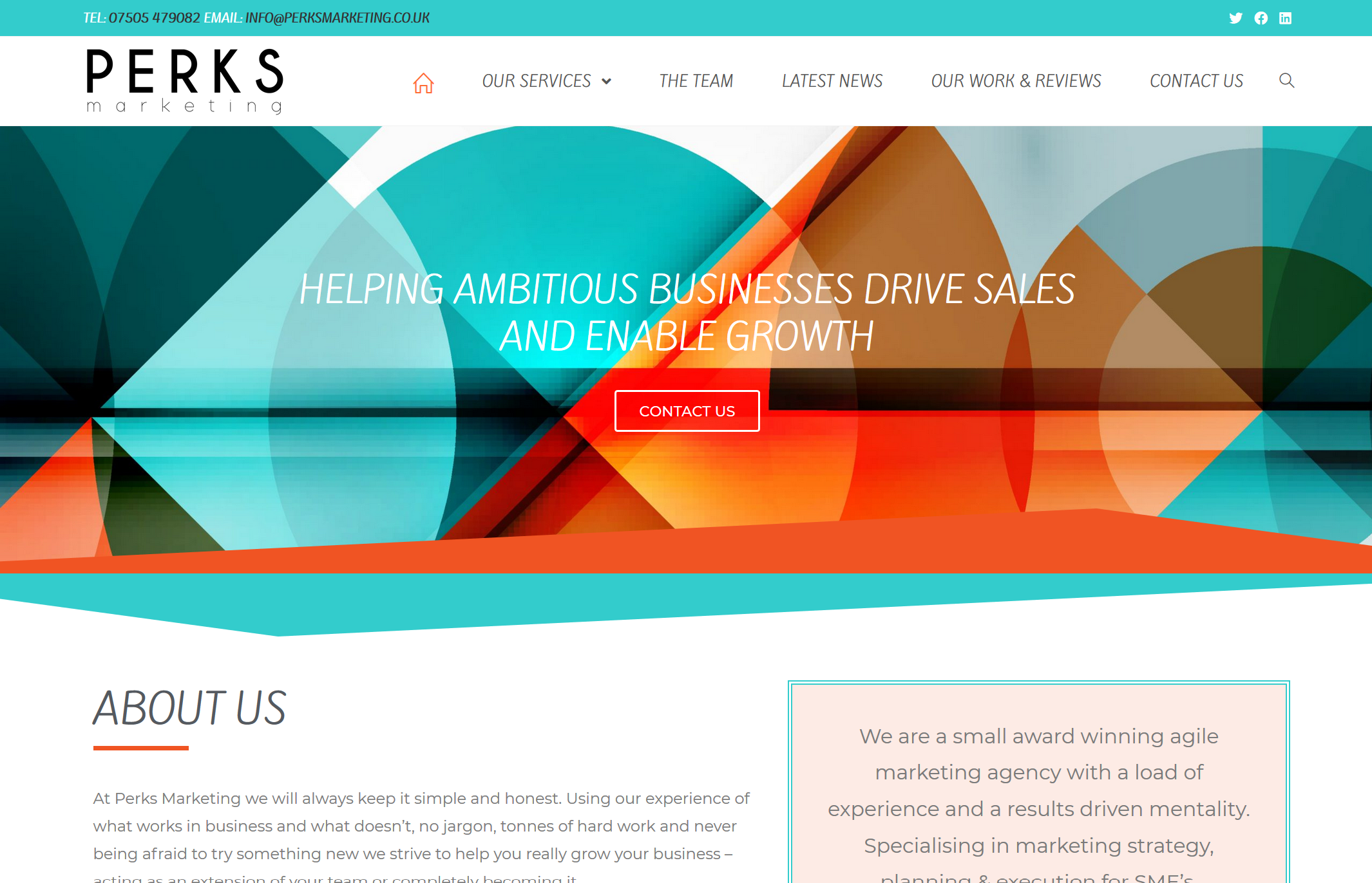 Perks Marketing Web Screen